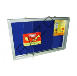 Sliding Glass Door Velvet Notice Board c/w Aluminium Frame 4' x 4'