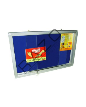 Sliding Glass Door Velvet Notice Board c/w Aluminium Frame 4' x 6'