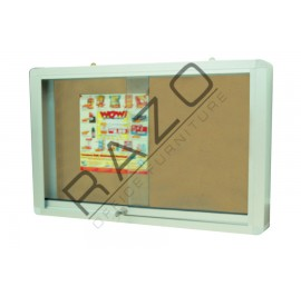 Sliding Glass Door Cork Notice Board c/w Aluminium Frame 2' x 4'