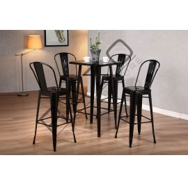 Metal High Bar Table Set | Bistro | Pub  - 862T862C-B